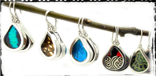 sterling silver or silver plate butterfly wing earrings